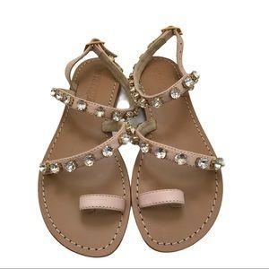 Mystique Diamond Tan Leather Toe Wrap Sandals